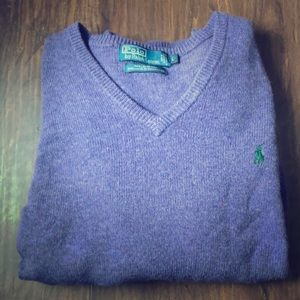 Polo Ralph Lauren Purple Wool Sweater Large V-Neck